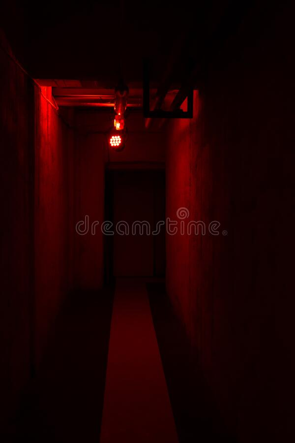 Empty corridor with red light royalty free stock photo