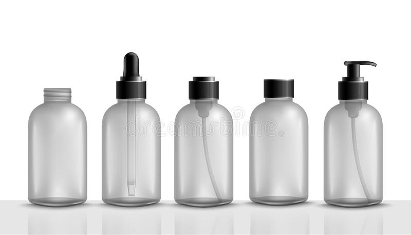 Empty cosmetic bottle set - plastic container packaging for shampoo, shower gel, liquid soap, face cream, serum stock illustration