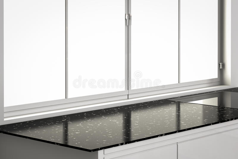 Empty countertop with window frames in kitchen. 3d rendering empty countertop with window frames in kitchen stock image