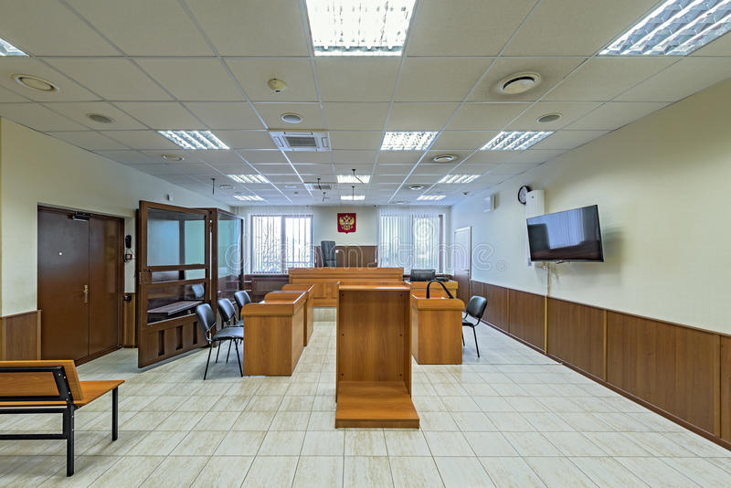 Empty courtroom interior. stock photos