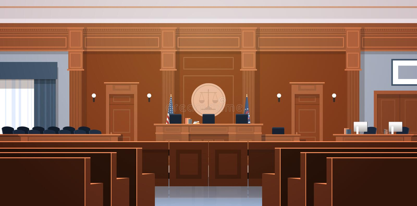 Empty courtroom with judge and secretary workplace jury box seats modern courthouse interior justice and jurisprudence. Concept horizontal vector illustration royalty free illustration