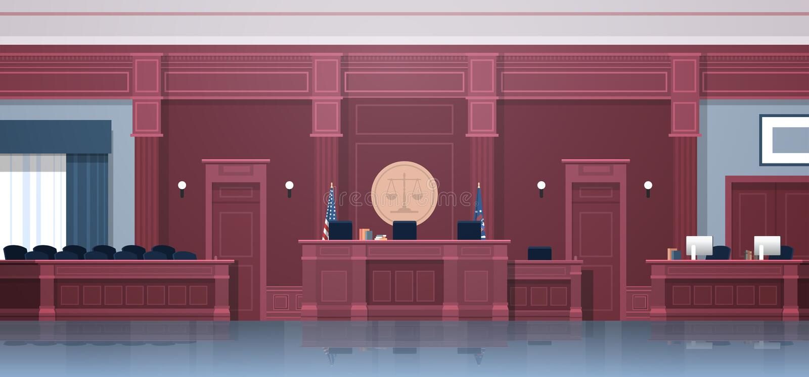 Empty courtroom with judge and secretary workplace jury box seats modern courthouse interior justice and jurisprudence. Concept horizontal vector illustration vector illustration