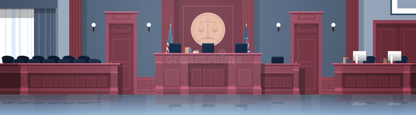 Empty courtroom with judge and secretary workplace jury box seats modern courthouse interior justice and jurisprudence. Concept horizontal banner vector royalty free illustration