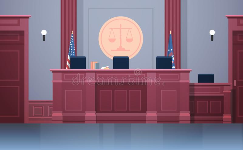 Empty courtroom with judge workplace chairs and table modern courthouse interior justice and jurisprudence concept. Horizontal vector illustration stock illustration