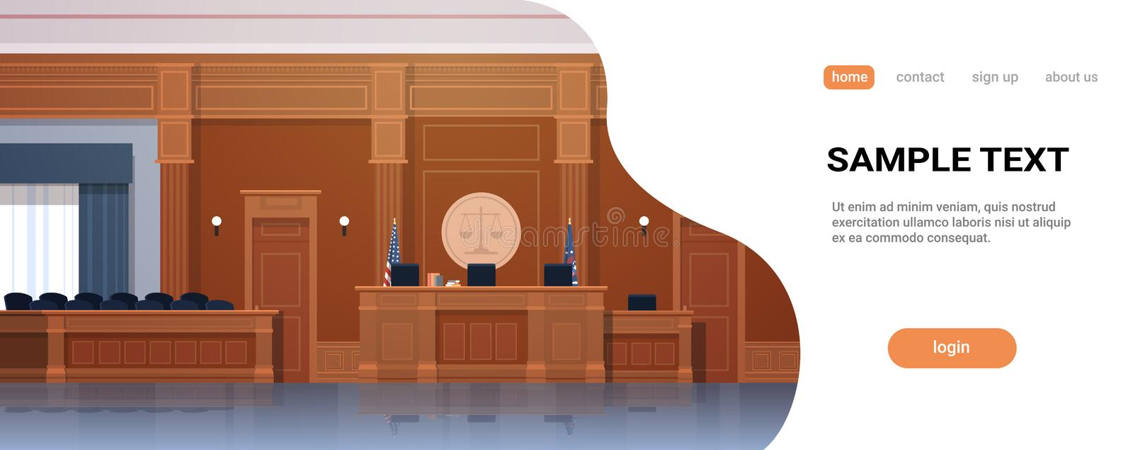 Empty courtroom with judge workplace and jury box seats modern courthouse interior justice and jurisprudence concept. Horizontal banner copy space vector vector illustration