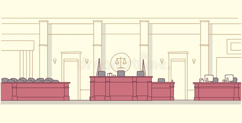 Empty courtroom with wooden furniture judge and secretary workplace jury box seats modern courthouse interior justice. And jurisprudence concept horizontal vector illustration