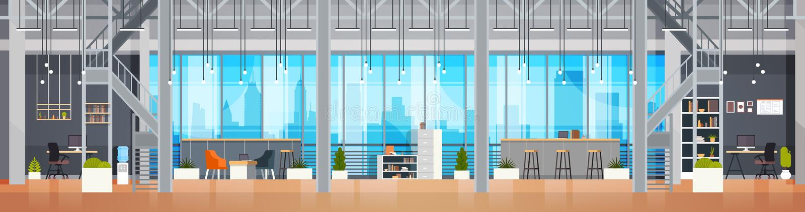 Empty Coworking Office Interior Modern Coworking Center Creative Workplace Environment Horizontal Banner stock illustration