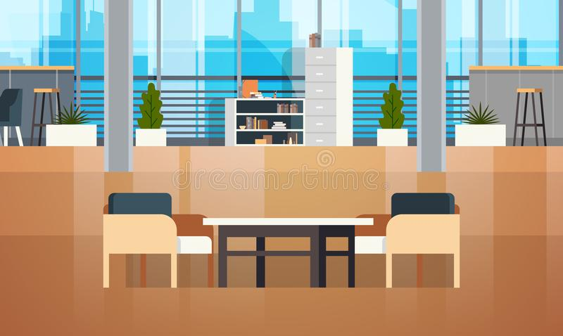 Empty Coworking Space Interior Modern Coworking Office Creative Workplace Space stock illustration