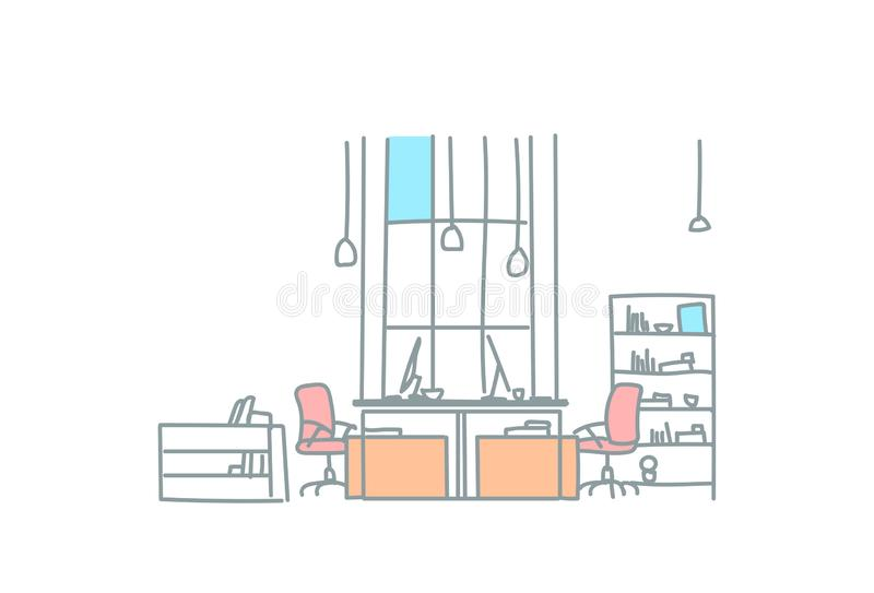 Empty coworking space modern office interior creative workplace co working workspace sketch doodle horizontal vector illustration