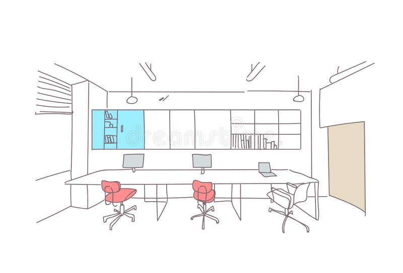 Empty coworking space modern office interior creative workplace co working workspace sketch doodle horizontal stock illustration