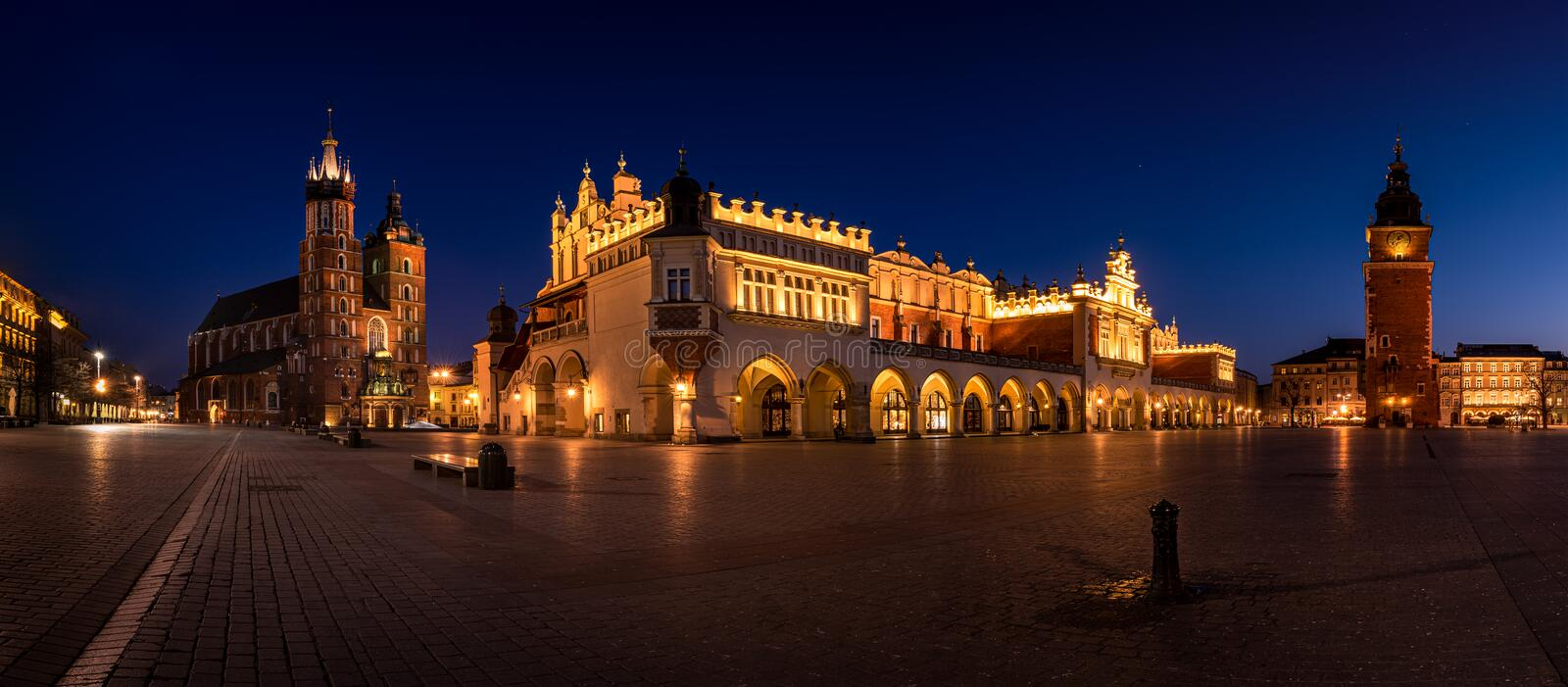 Empty Cracow Main Square at the night. Poland - Kraków, Krakow. Empty Cracow Main Square at the night. Poland - Kraków, Krakow..Mariacki Church and royalty free stock images