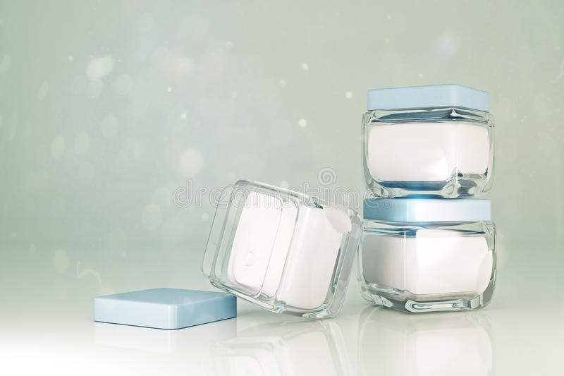 Empty cream jars ad concept stock illustration