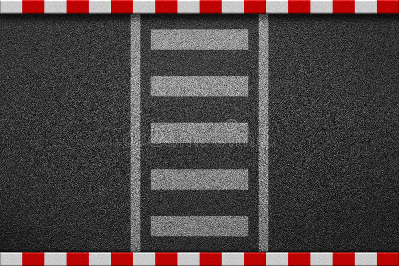 Empty crosswalk on asphalt road with red and white sign on sidewalk curb top view royalty free stock photo