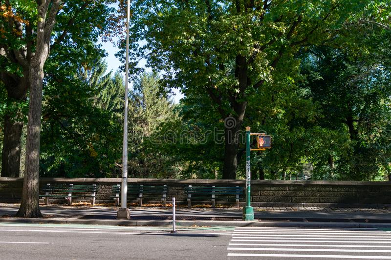 An Empty Crosswalk to Central Park in New York City stock images