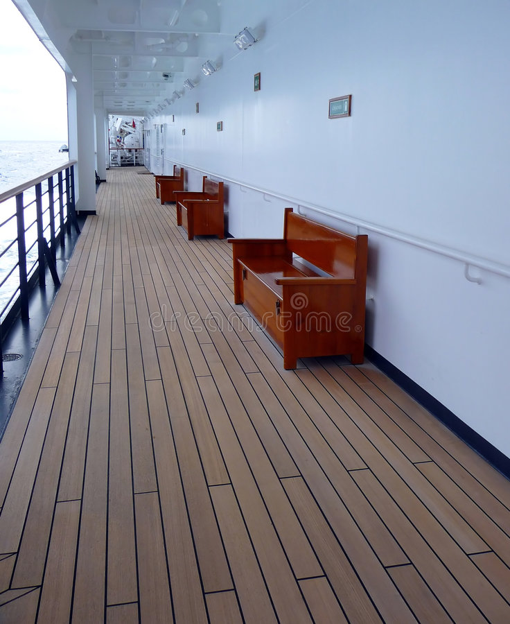 Empty cruise ship walking deck royalty free stock image