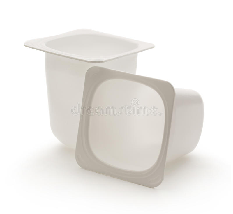 Empty Crushed Plastic Yogurt Pots Stock Image - Image of ...