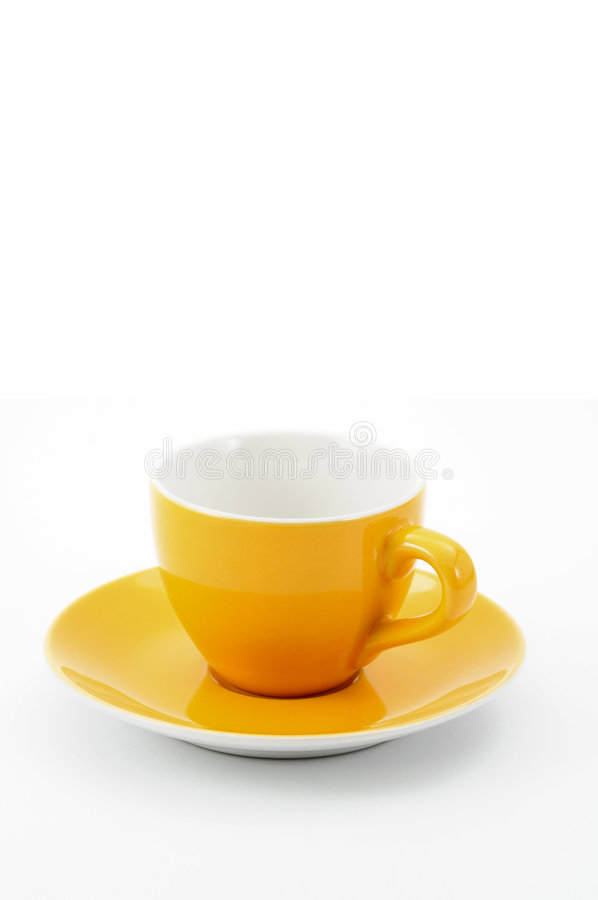 Empty cup. Empty orange cup on white background stock image