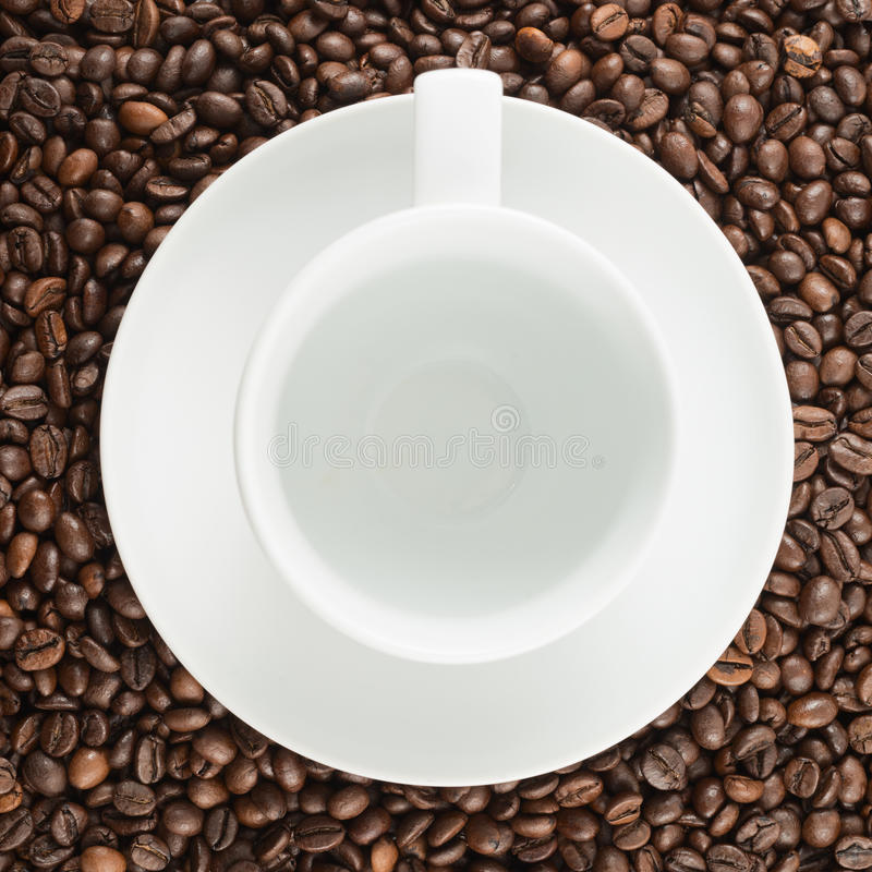 Empty cup over coffee bean background. Empty cup and white ceramic plate over coffee bean surface background stock images