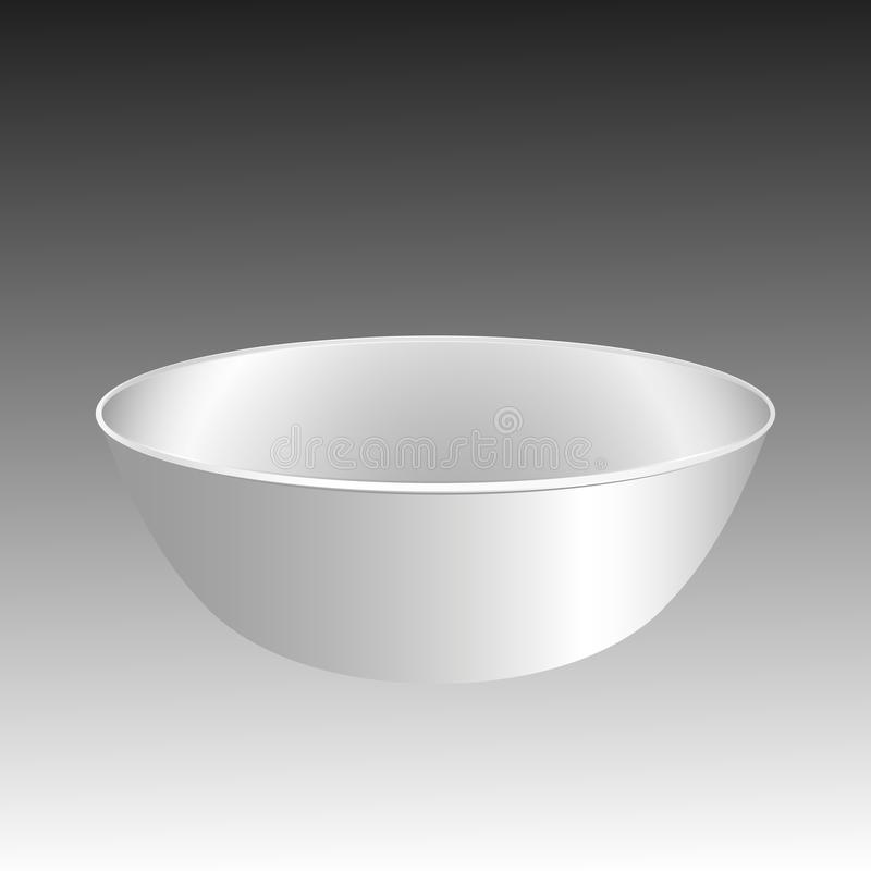 Empty cup, saucer. White plate, bowl isolated on black background. vector illustration