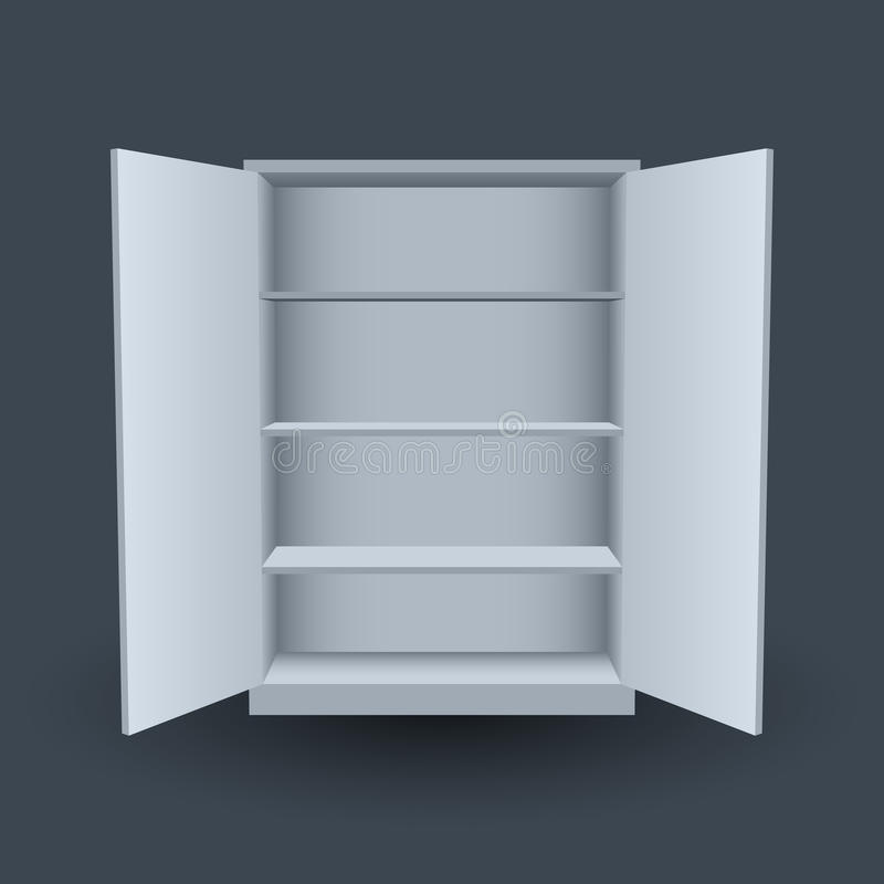 Empty cupboard. The empty cupboard with open doors and shelves vector illustration royalty free illustration
