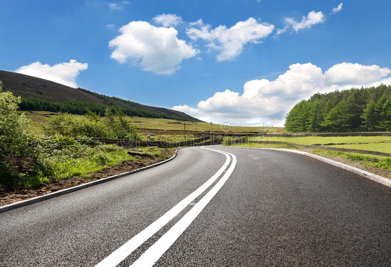 Empty curved road. Yorkshire,uk stock image