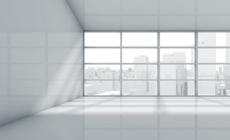 Empty 3d room with cityscape in the window. Abstract white interior of an empty office room with cityscape in the window. 3d render illustration vector illustration