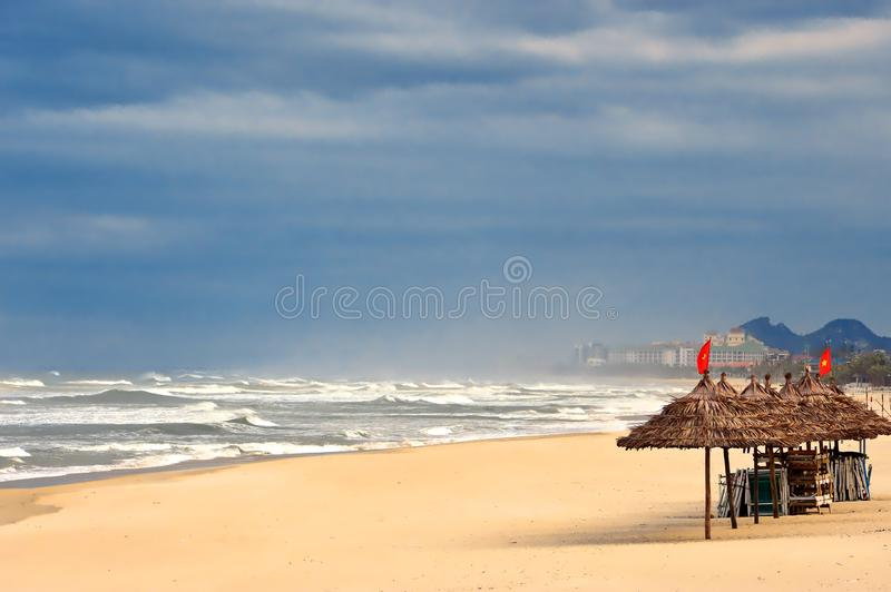 Empty Da Nang beach in Vietnam. stock photography