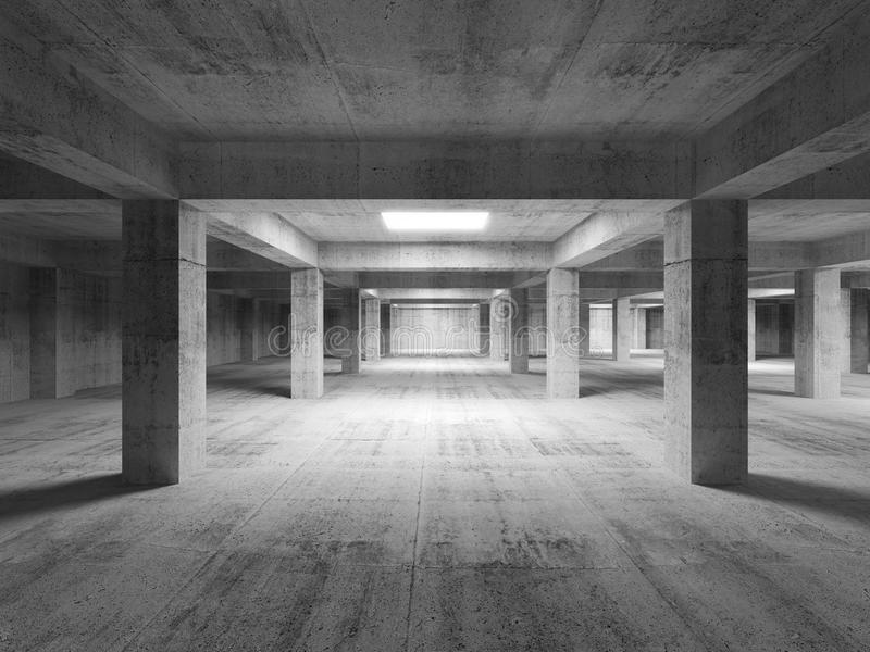 Empty dark abstract industrial concrete interior. 3d stock illustration