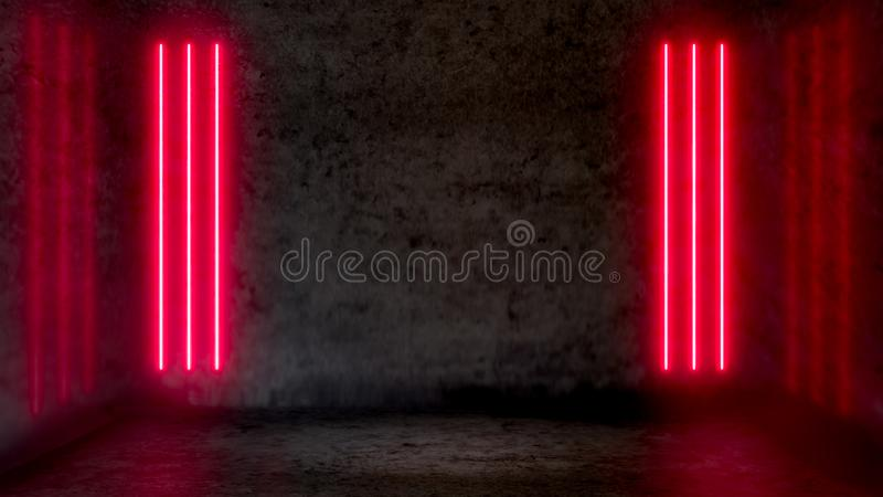 Empty dark abstract room with red fluorescent neon lights. stock illustration