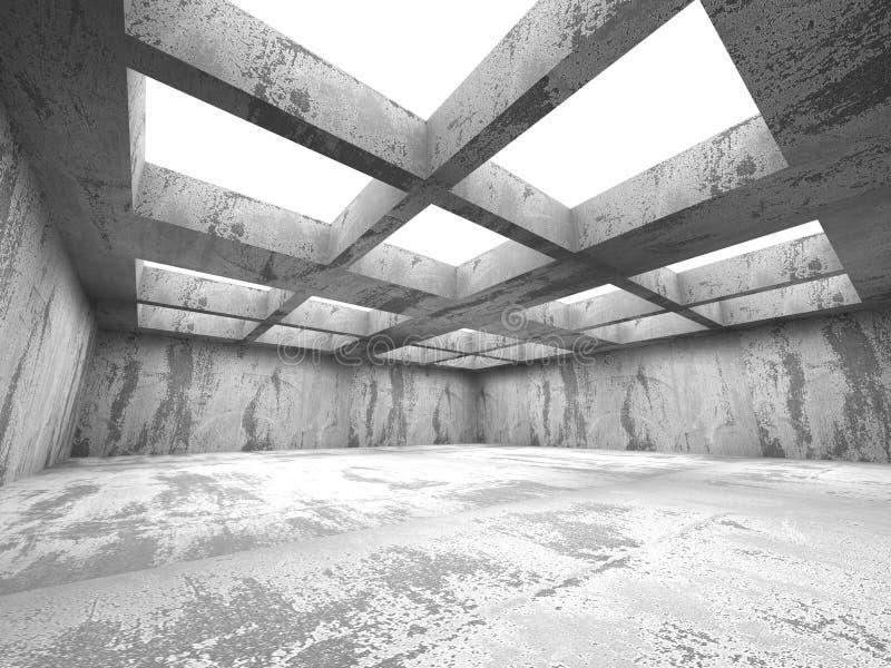 Empty dark concrete room interior. Abstract urban architecture. 3d render illustration royalty free stock photo