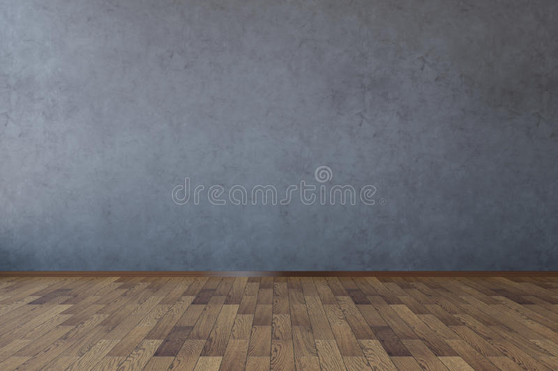 Empty dark concrete wall. Front view of interior with blank dark concrete wall and wooden floor. Mock up, 3D Rendering vector illustration