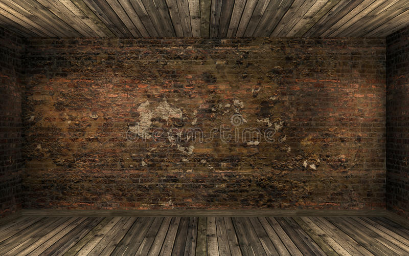 Empty dark old abandoned room interior with old cracked brick wall and old hardwood floor stock images