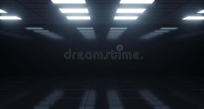 Empty Dark Room With Square Lights On Ceiling And Reflective Flo stock illustration