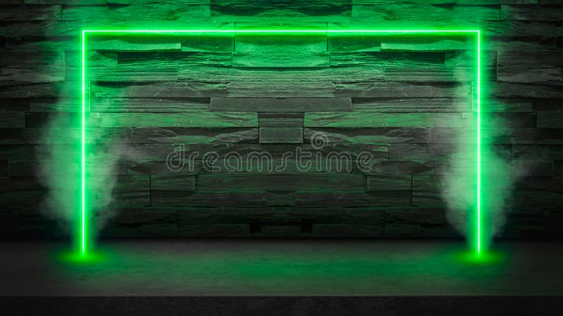 Empty dark stone table with green fluorescent neon laser lights in smoke. stock photo