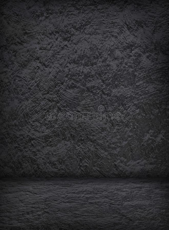 Empty dark stucco interior with concrete wall and floor for template stock images
