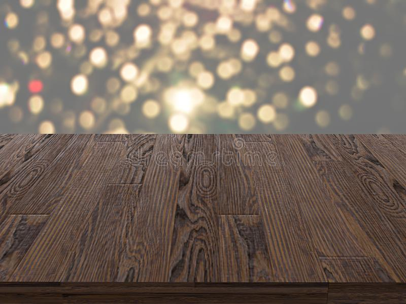 Empty dark wooden table in front of abstract blurred bokeh background. can be used for display or montage your products.Mock up fo royalty free stock photo