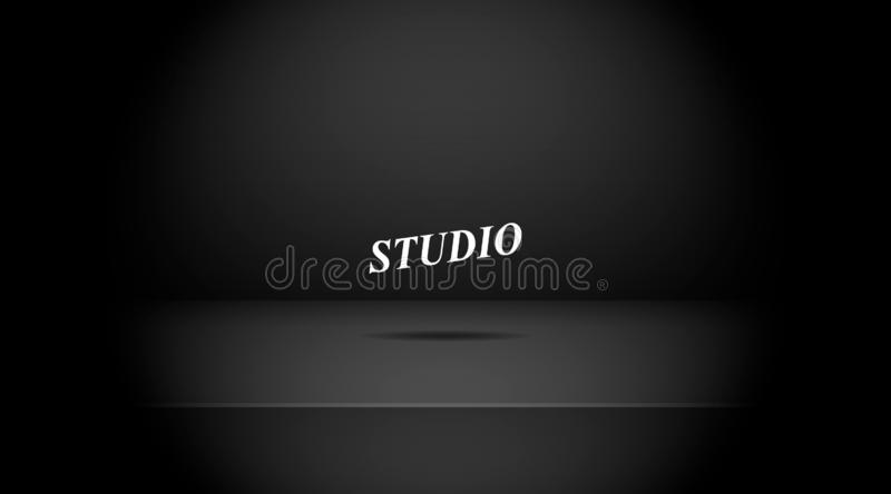 Empty darkened black color studio. Table room background ,product display with copy space for display of content design.Banner for advertise product on website royalty free illustration
