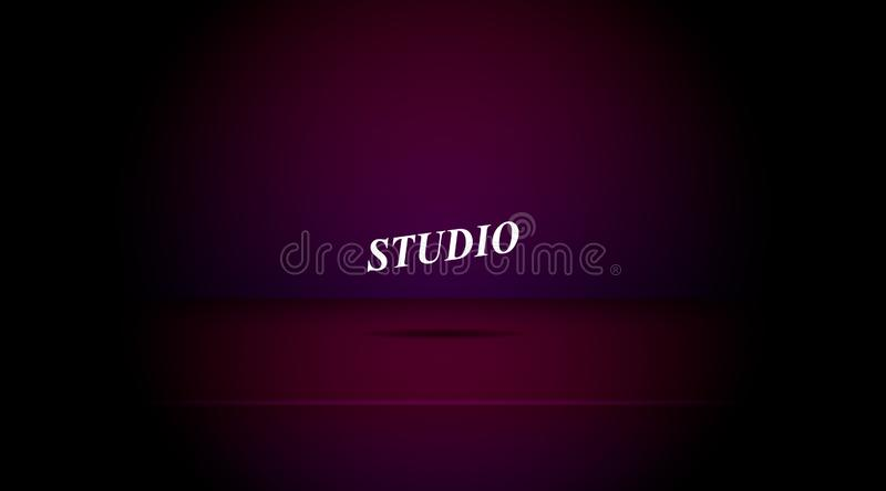 Empty darkened color studio. Table room background ,product display with copy space for display of content design.Banner for advertise product on website vector illustration
