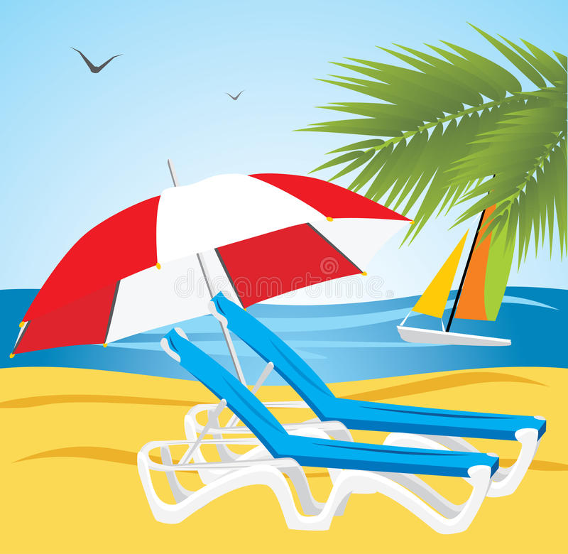 Free Empty Deckchairs Under An Umbrella. Beach Stock Images - 14293464