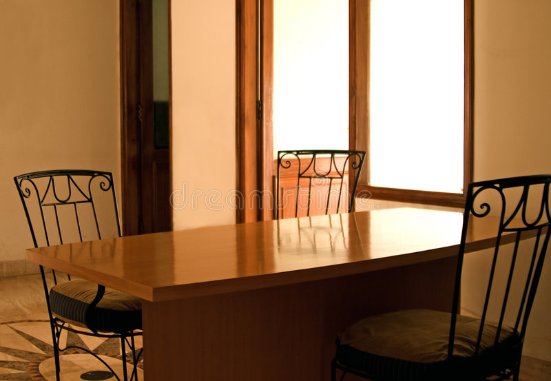 Empty dining table royalty free stock photography