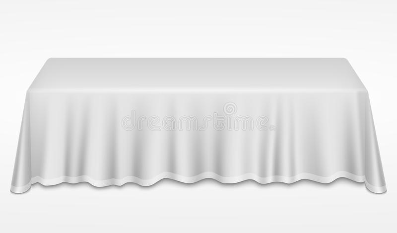 Empty dinner banquet table with white cloth 3d realistic desk vector illustration stock illustration