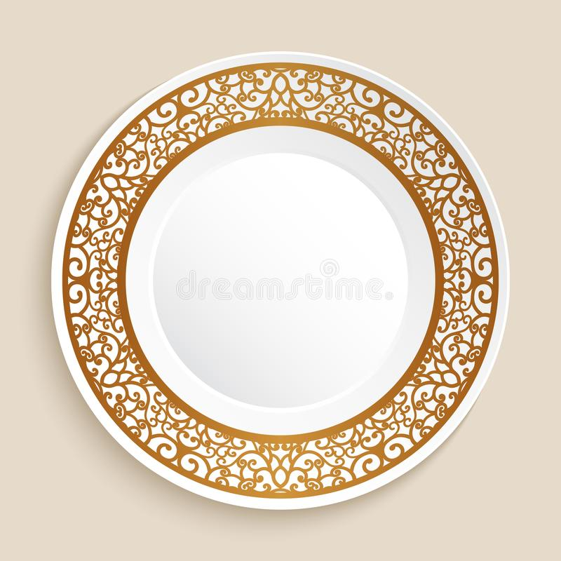 Empty plate with gold border. Empty dinner plate with gold border ornament, decorative dish with golden swirly pattern stock illustration