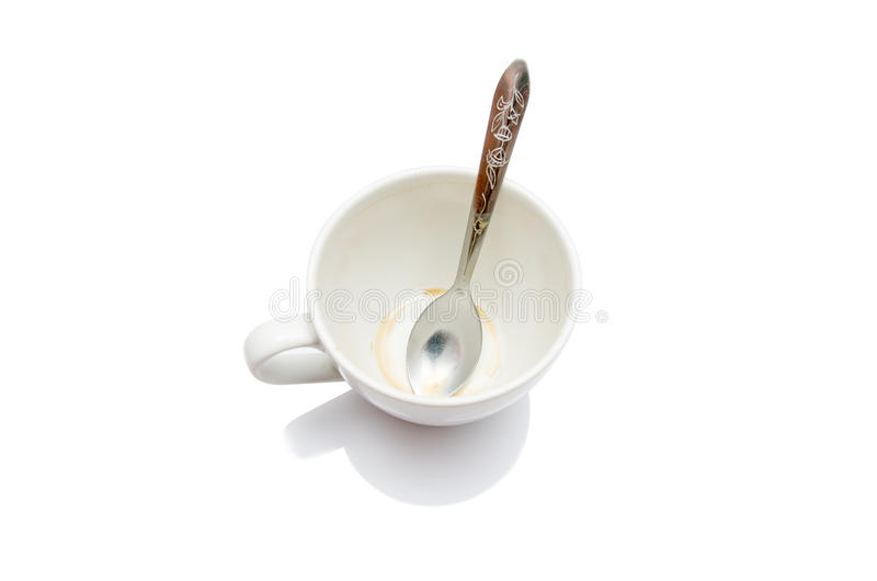 Empty and dirty cup stock image