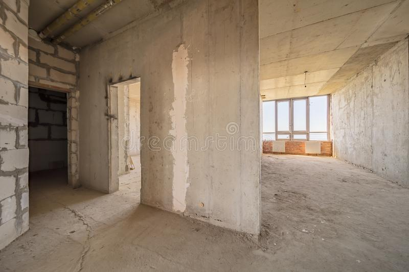 Empty dirty room. Ready for renovation and design royalty free stock image