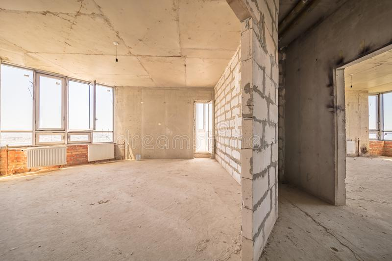 Empty dirty room. Ready for renovation and design royalty free stock photo
