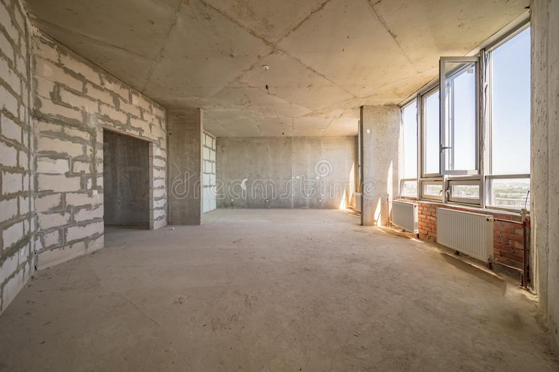 Empty dirty room. Ready for renovation and design stock photo
