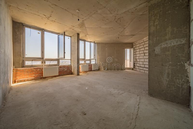 Empty dirty room. Ready for renovation and design stock image