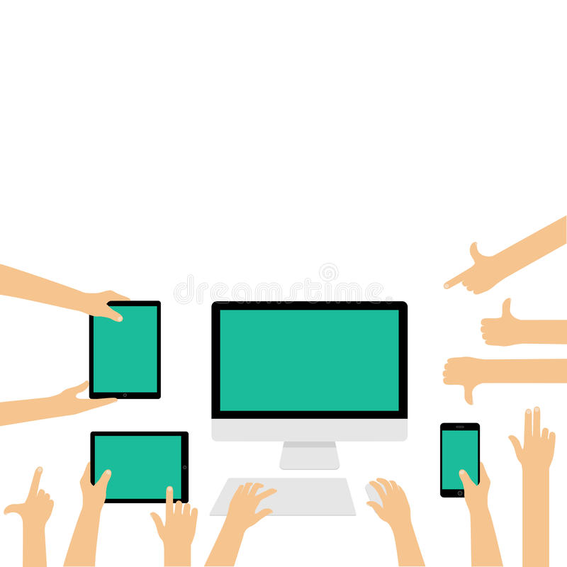 Empty display screens of different devices with hand gestures royalty free illustration