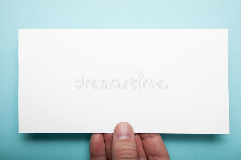 Empty DL Flyer on a blue background, mockup.  stock images