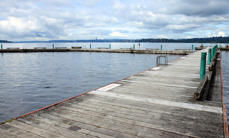 Empty Dock on Lake Washington stock photos